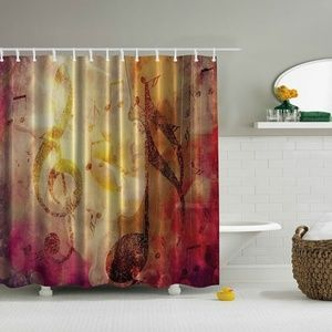 Shower Curtain Grunge Musical Notes Print